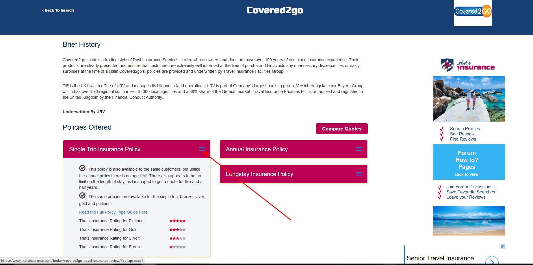 Insurance Provider Detail page