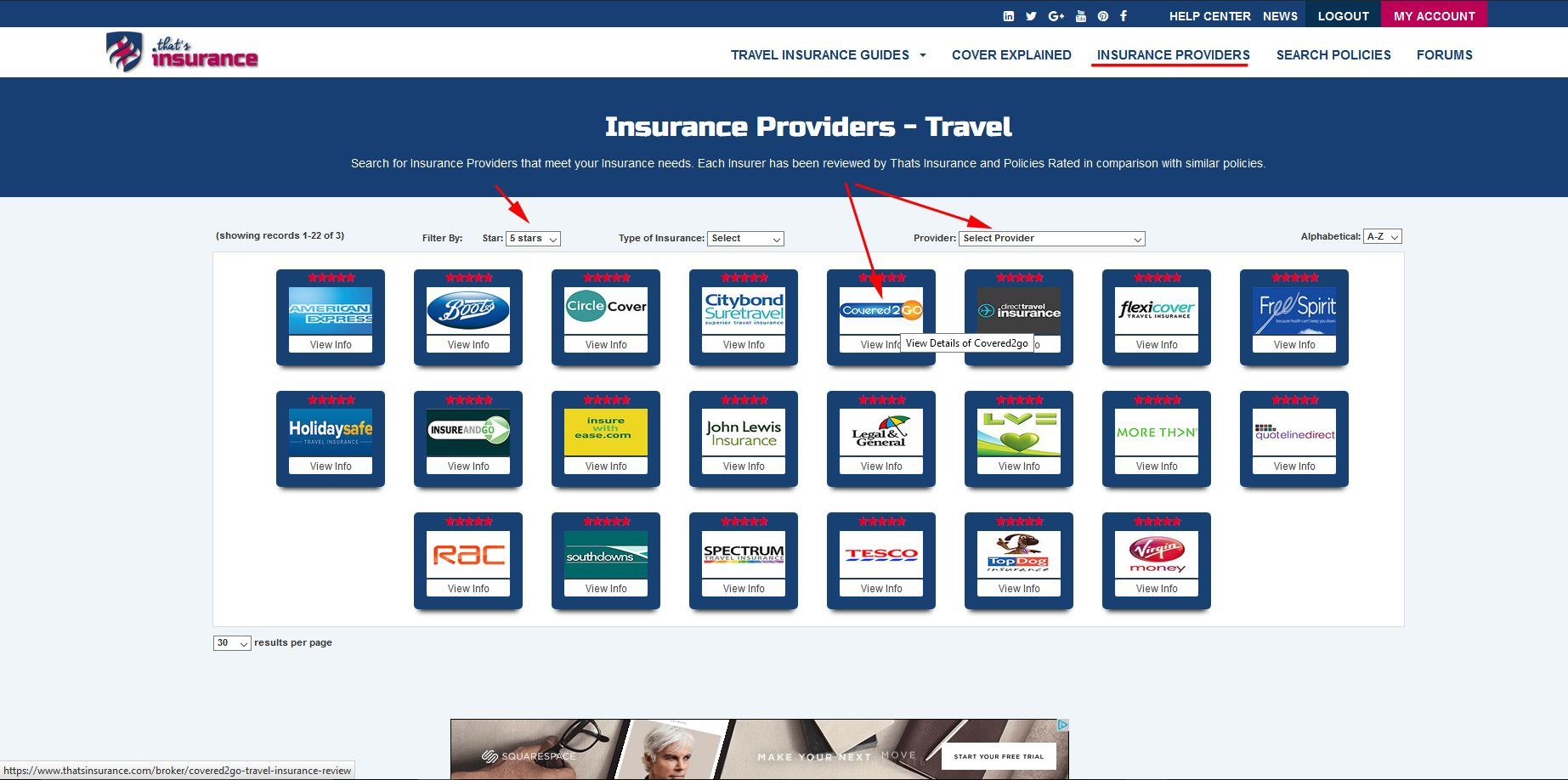 Insurance Provider Search Page